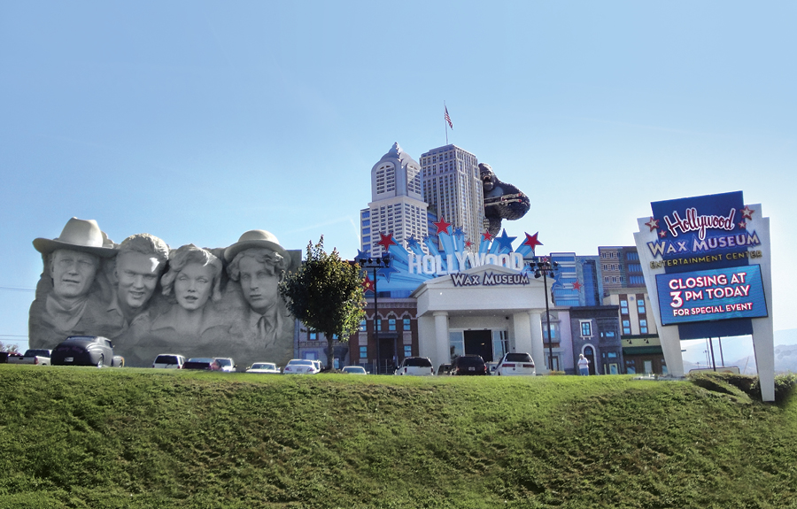 Hollywood Wax Museum outdoor shot featuring giant 3D sculpted foam displays including the world's largest gorilla