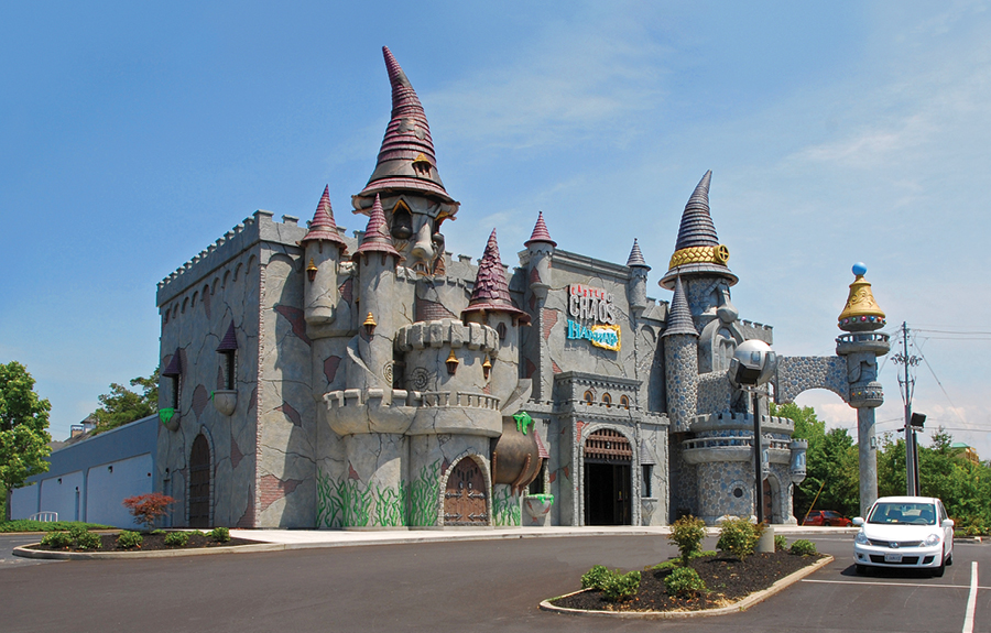 Exterior of the Castle of Chaos tourist attraction featuring sculpted fantasy themed cladding