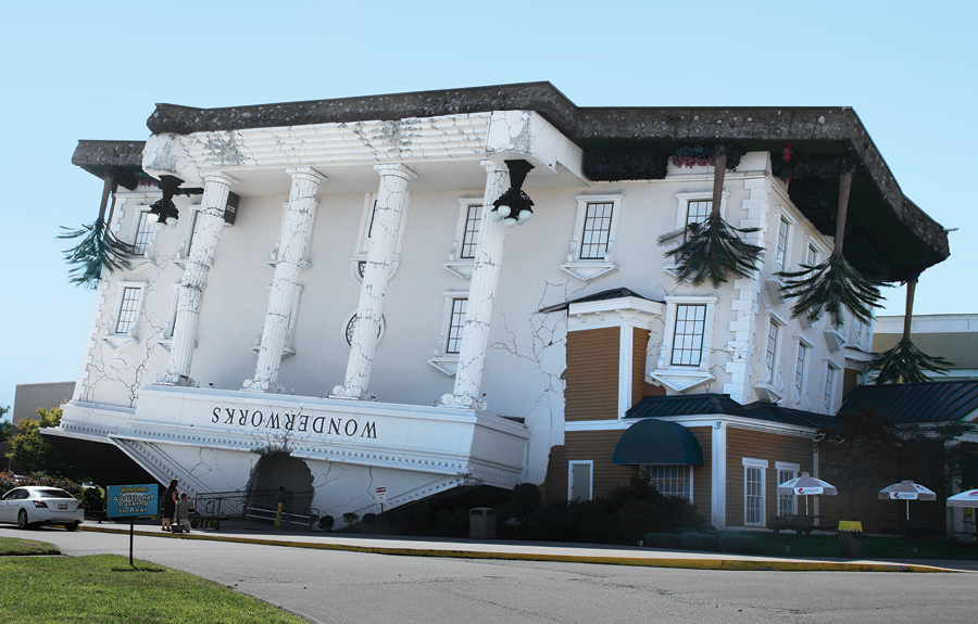 Wonderworks upside down building constructed out of 3D foam by Studio Y Creations