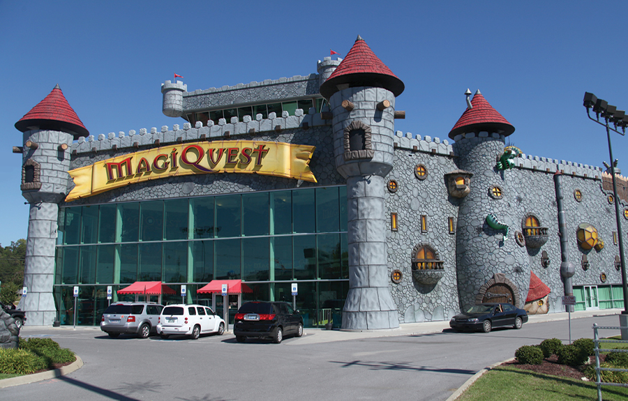 Exterior of Magiquest family attraction with fully sculpted foam cladding