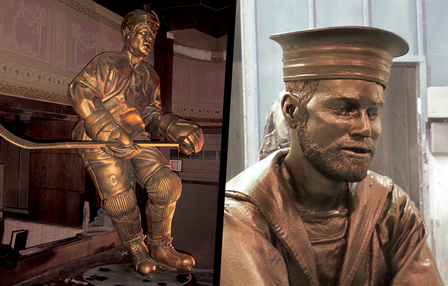Close up bronzes of hockey athletes in a sports museum