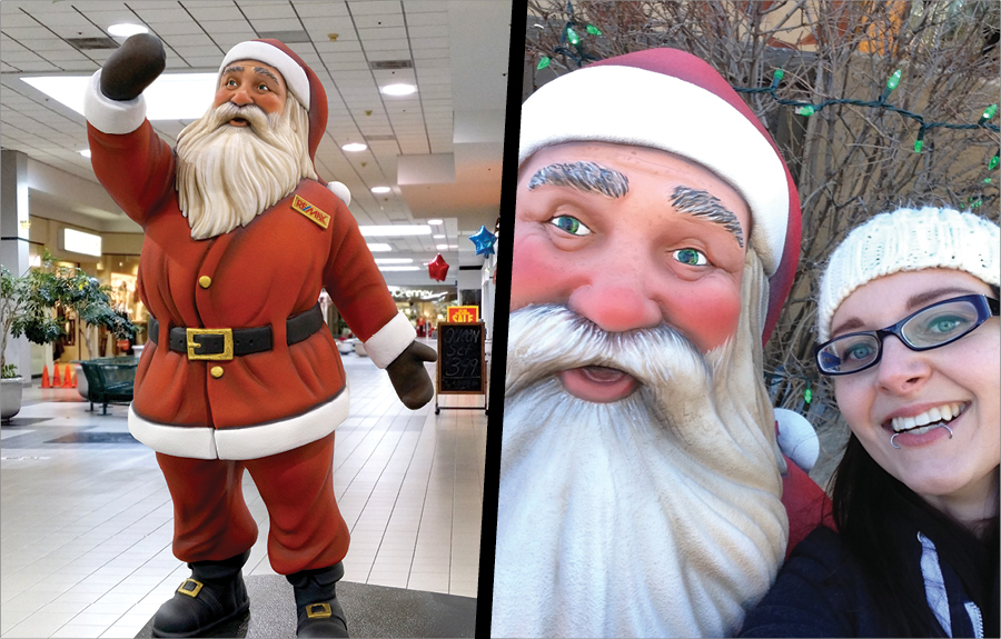 Sculpted photo op Santa Claus in Christmas mall display