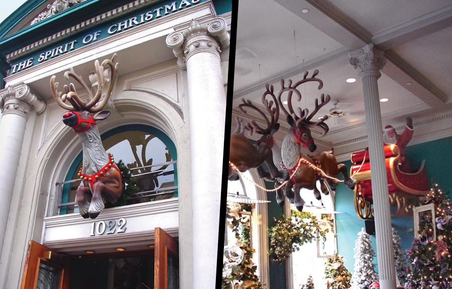 Exterior and interior christmas mall decorations of reindeer and Santa Claus