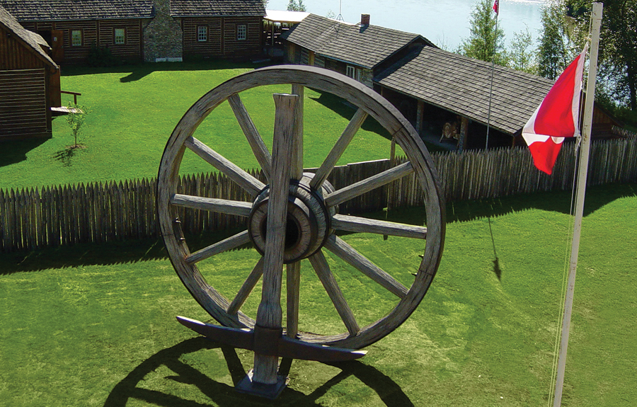 Largest wagon wheel and pickaxe on display in historical village