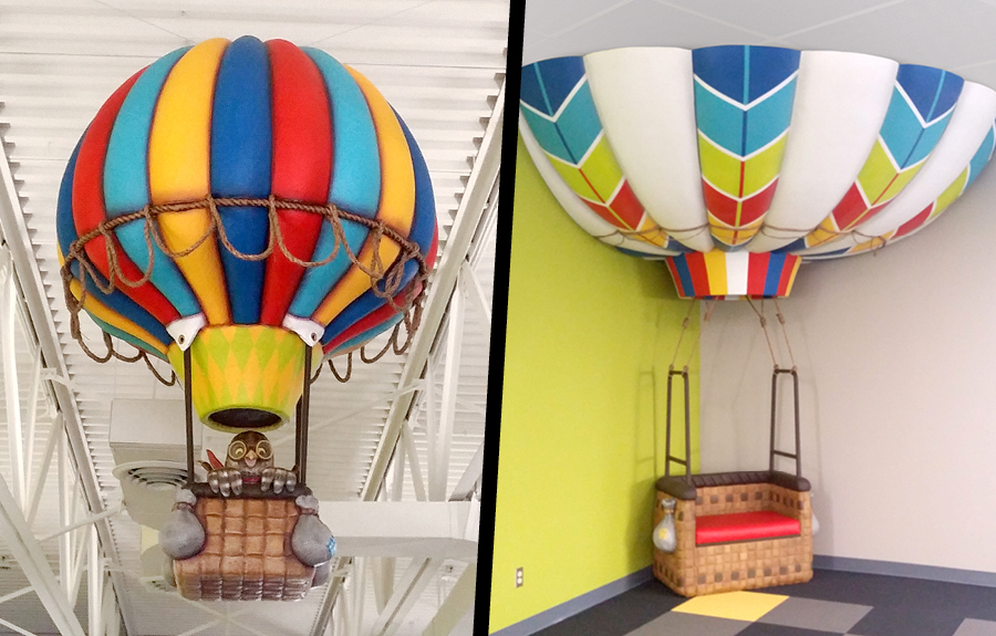 Sculpted hot air balloon displays for libraries and kids spaces