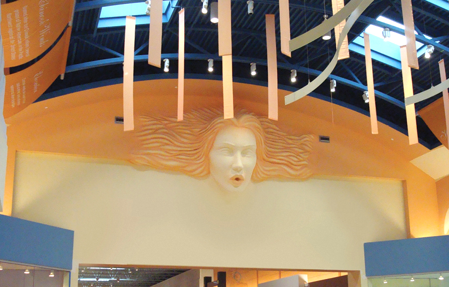 Mall decor of a representation of the wind on a hall entranceway