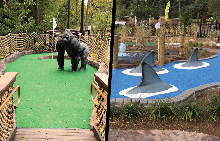 Sculpted foam gorilla and swimming sharks in a fun mini golf course