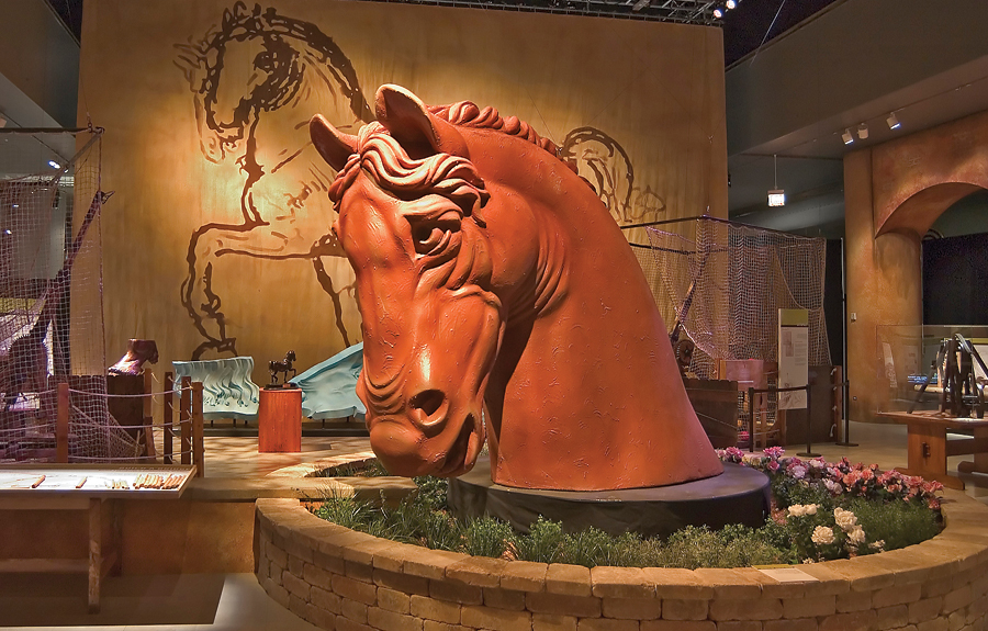 Da Vinci horse head sculpted replica on display in a museum