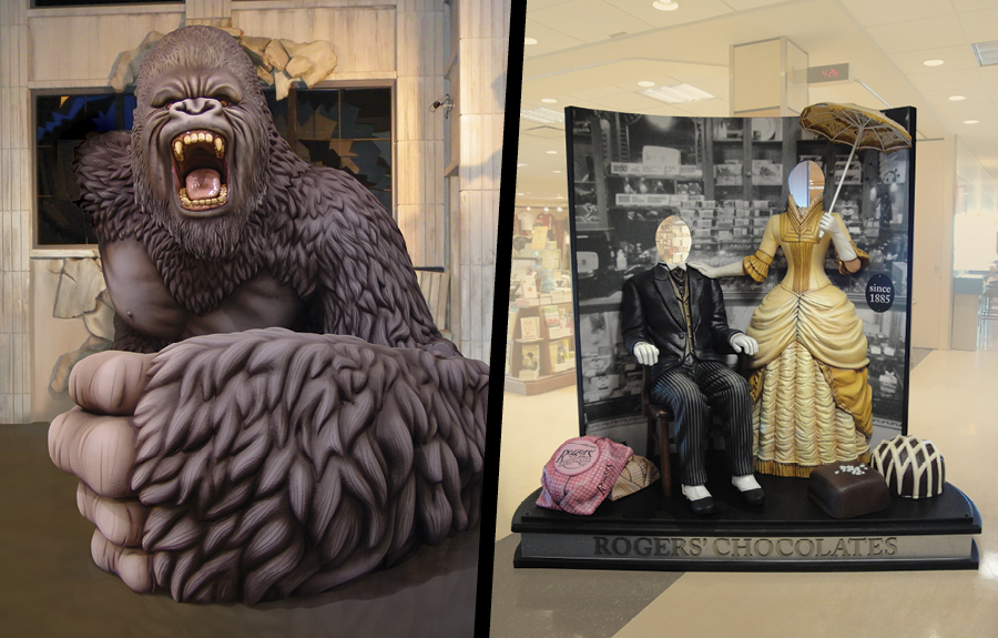 Giant sculpted gorilla and nineteenth century themed sculpted foam photo ops inside museums