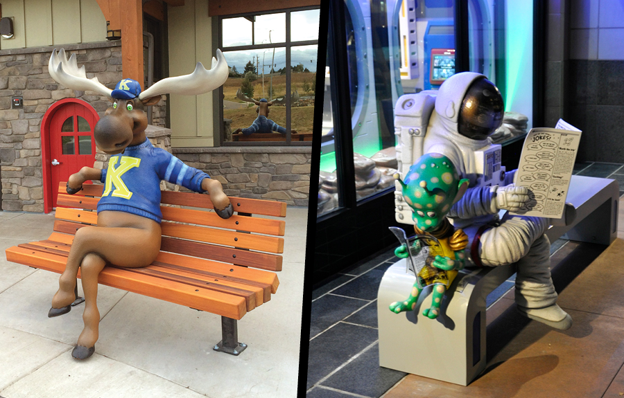 Sidewalk benches with photo ops of a sculpted moose and astronaut