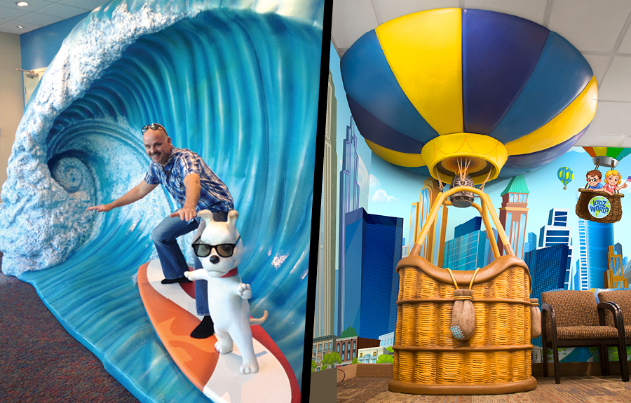 Giant scultped wave and hot air balloon inside fun kid friendly offices
