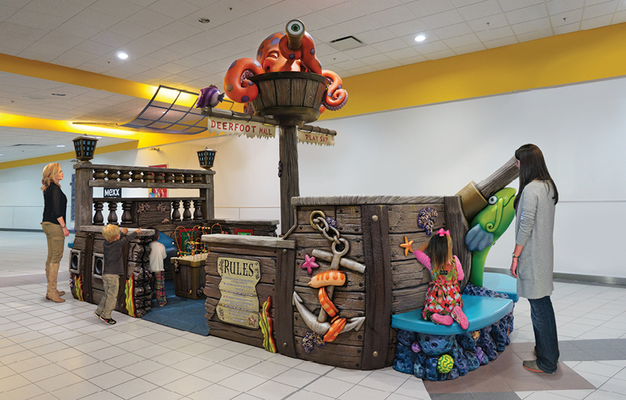Sunken ship themed mall play area with 3D foam characters and gaming for kids