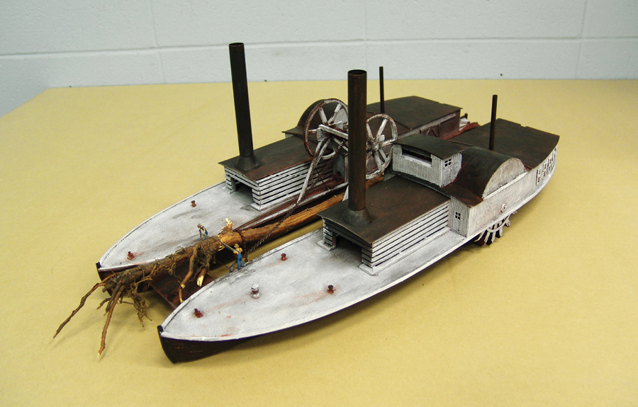 Miniature scale model of paddleboat in museum