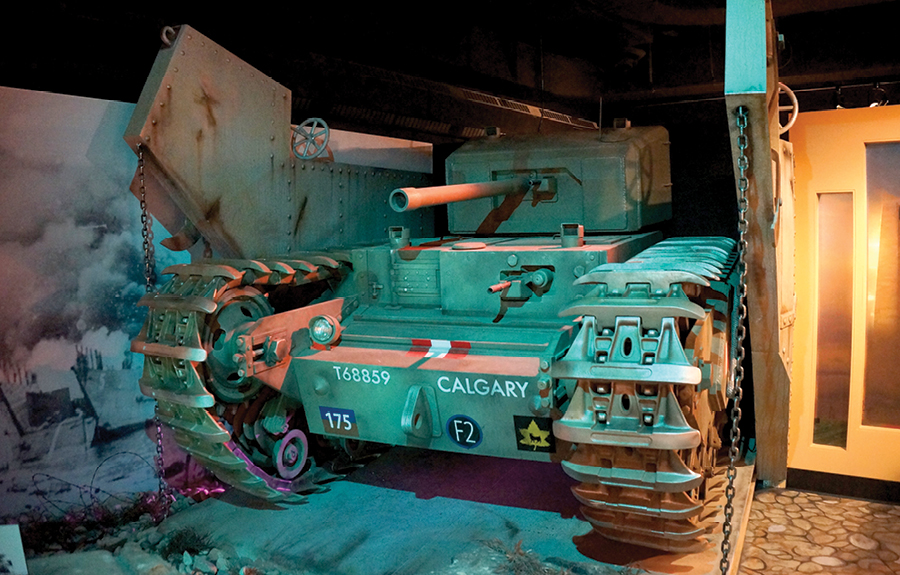 Lifesize sculpted replica tank in a world war museum exhibit