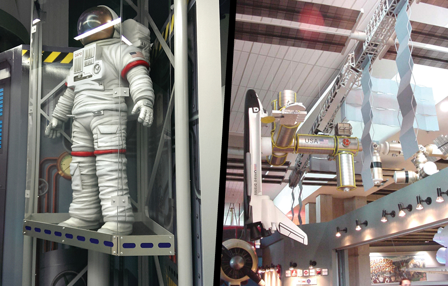 Scale model of space station and astronaut suit made of 3D foam in science centres