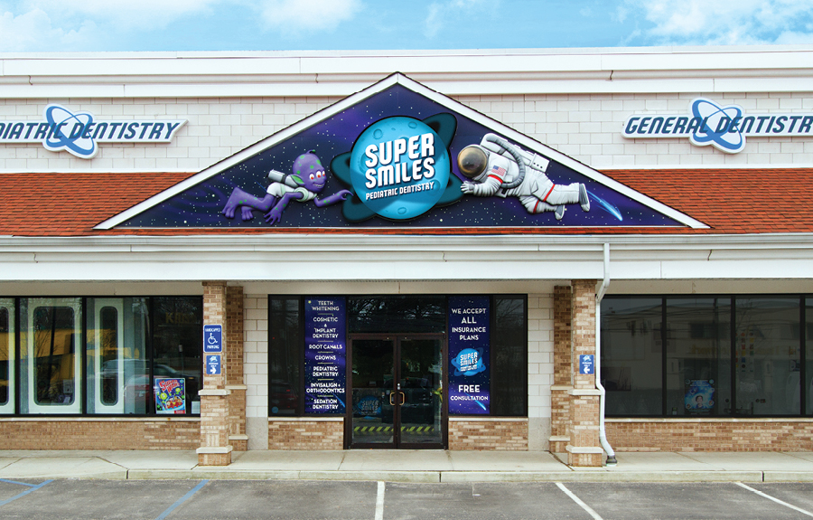Custom outdoor facade signage for a pediatric dental business