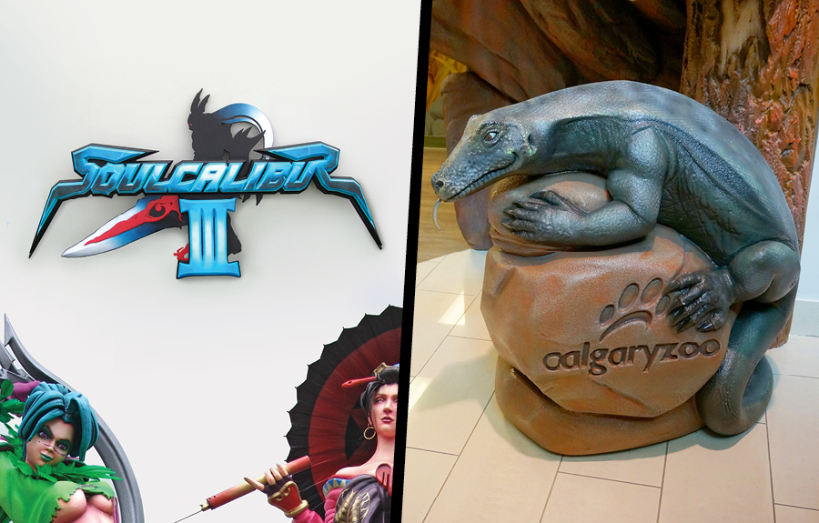 Promotional signage for a video game and sculpted exhibit signage for a zoo