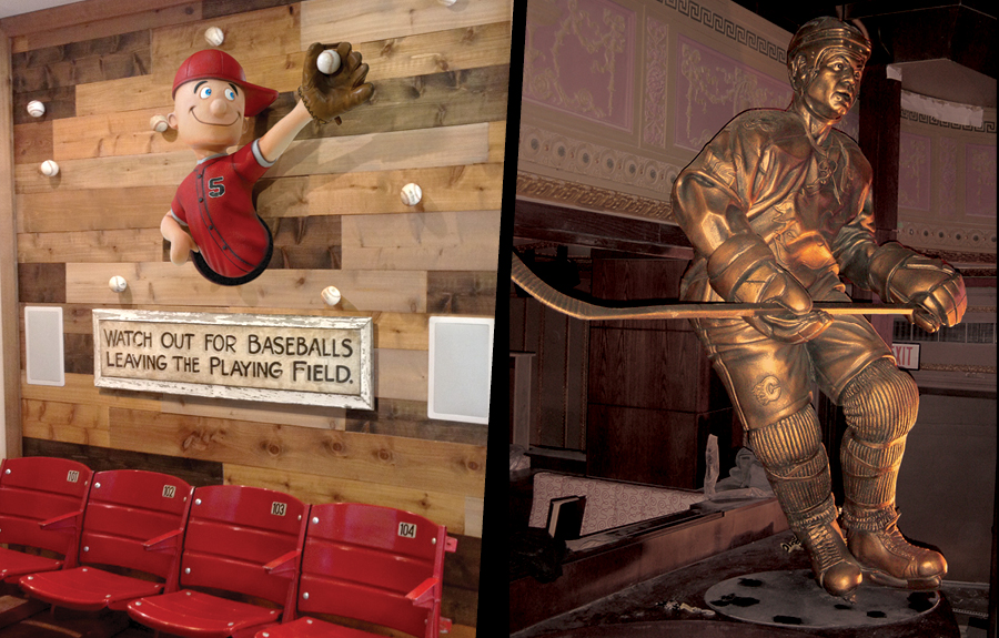 Sculpted baseball mascot in kids office and a large foam bronze of hockey player in sports museum