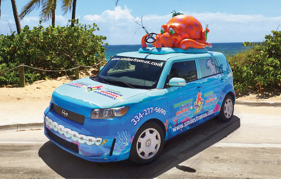 Car advertising vinyl wrap featuring a 3D octopus character mascot